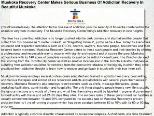 Muskoka Recovery Center Makes Serious Business Of Addiction