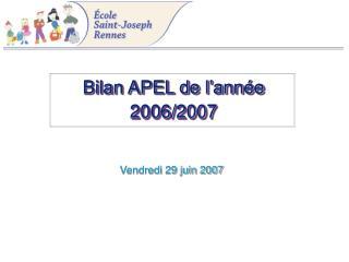 Bilan APEL de l'année 2006/2007