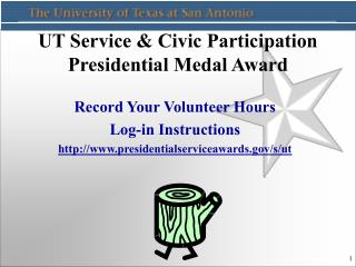 UT Service & Civic Participation Presidential Medal Award