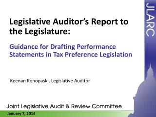 Legislative Auditor's Report to the Legislature:
