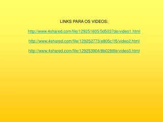 LINKS PARA OS VIDEOS: 4shared/file/129251605/5d5037de/video1.html