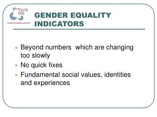 GENDER EQUALITY INDICATORS