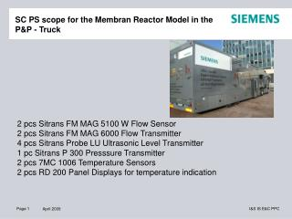 SC PS scope for the Membran Reactor Model in the P&P - Truck