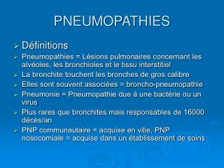 PNEUMOPATHIES