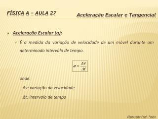 Física A – Aula 27