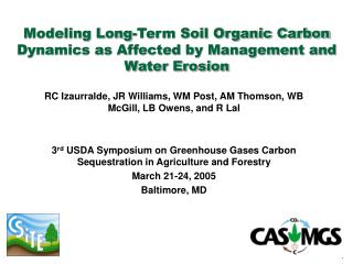 Modeling Long-Term Soil Organic Carbon Dynamics as Affected by Management and Water Erosion