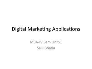 Digital Marketing Applications