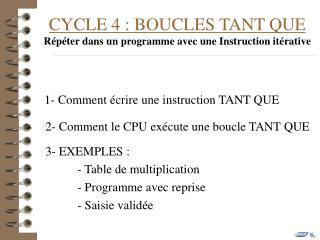CYCLE 4 : BOUCLES TANT QUE Répéter dans un programme avec une Instruction itérative