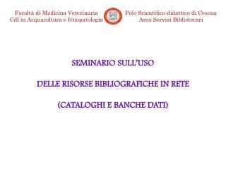 SEMINARIO SULL'USO DELLE RISORSE BIBLIOGRAFICHE IN RETE (CATALOGHI E BANCHE DATI)