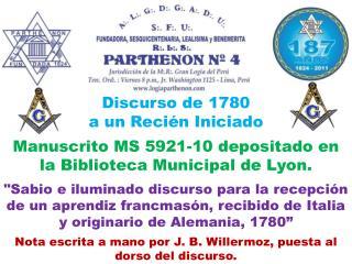 Discurso de 1780  a un Recién Iniciado