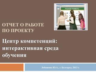 Отчет о работе по  проекту