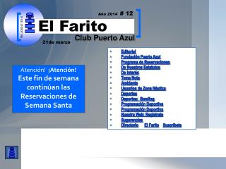 Editorial Fundación Puerto Azul  Programa de Reservaciones De Nuestros Estatutos De Interés