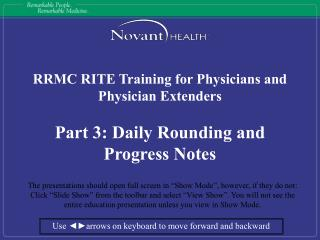 RRMC RITE Training for Physicians and Physician Extenders Part 3: Daily Rounding and