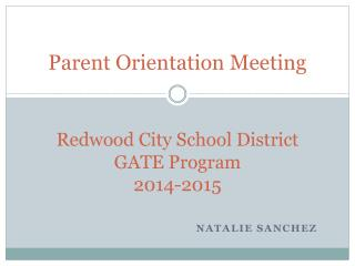 Redwood City School District GATE Program 2014-2015