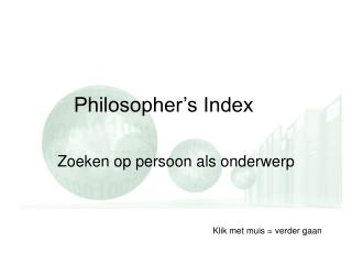 Philosopher's Index