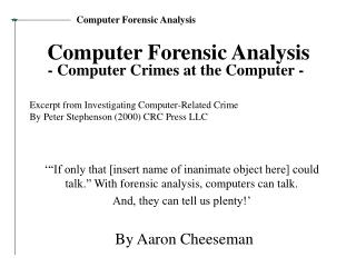 Computer Forensic Analysis