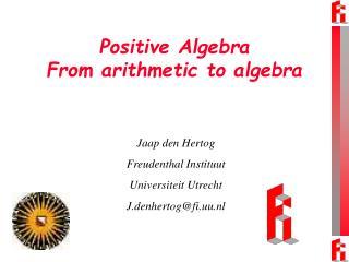 Positive Algebra From arithmetic to algebra