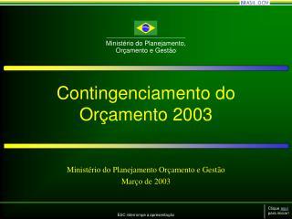 Contingenciamento do Orçamento 2003
