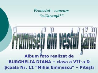 Album foto realizat de  BURGHELIA DIANA � clasa a VII-a D ?coala Nr. 11 �Mihai Eminescu� � Pite?ti