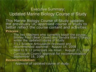 Executive Summary: Updated Marine Biology Course of Study