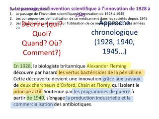 Synthèse en trois parties: Le passage de l'invention scientifique à l'innovation de 1928 à 1945