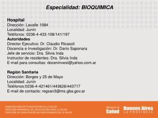 Especialidad: BIOQUIMICA