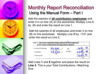 Monthly Report Reconciliation