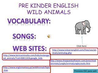 PRE KINDER ENGLISH WILD ANIMALS