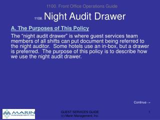 1108. Night Audit Drawer