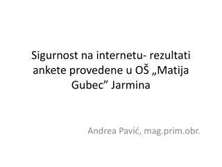 """Sigurnost na internetu- rezultati ankete provedene u OŠ """"Matija Gubec"""" Jarmina"""