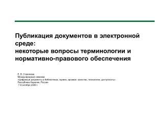 Е. В. Стрелкова Международный семинар
