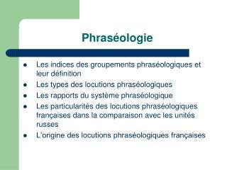 Phraséologie