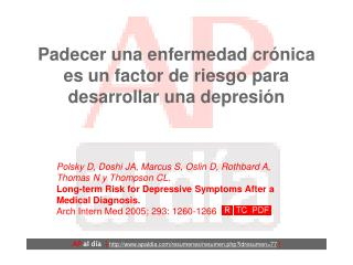 Padecer una enfermedad crónica es un factor de riesgo para desarrollar una depresión