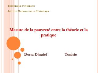 République Tunisienne Institut National de la Statistique