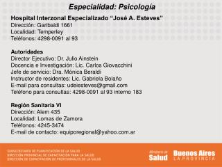 Especialidad: Psicolog�a