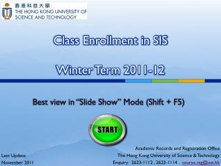 Class Enrollment in SIS Winter Term 2011-12