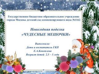 Новогодняя поделка        «ЧУДЕСНЫЕ МЕШОЧКИ» Выполнили: Дети и воспитатель ГКП