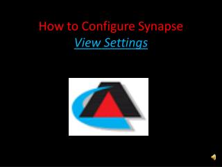 How to Configure Synapse  View Settings