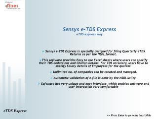Sensys e-TDS Express eTDS express way