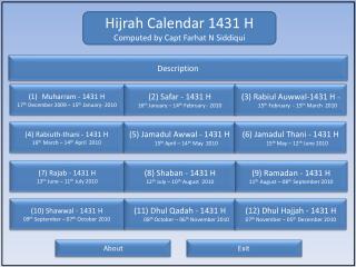 Hijrah  Calendar 1431 H Computed by Capt Farhat N Siddiqui