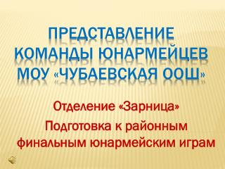 Представление  команды юнармейцев  МОУ « Чубаевская  ООШ»