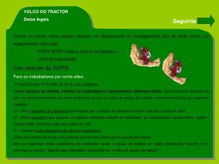 VOLCO DO TRACTOR Datos legais