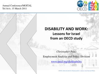 DISABILITY AND WORK: Lessons for Israel from an OECD study