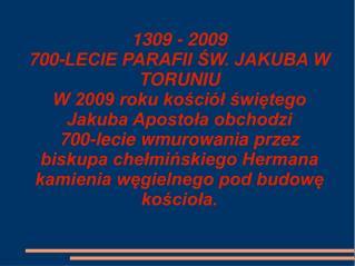 HISTORIA PARAFII ŚW. JAKUBA W TORUNIU