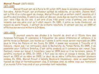 Marcel Proust  (1871-1922) 1871-1890
