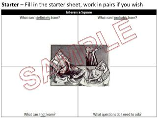 Starter  – Fill in the starter sheet, work in pairs if you wish