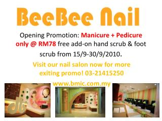 Visit our nail salon now for more exiting promo! 03-21415250 bmic.my