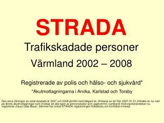 STRADA Trafikskadade personer Värmland 2002 – 2008