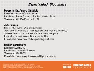 Especialidad: Bioqu�mica