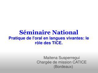 Séminaire National Pratique de l'oral en langues vivantes: le rôle des TICE.